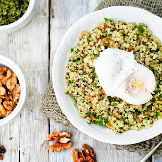 Quinoa and Lentil Pilaf with Basil and Poached Eggs