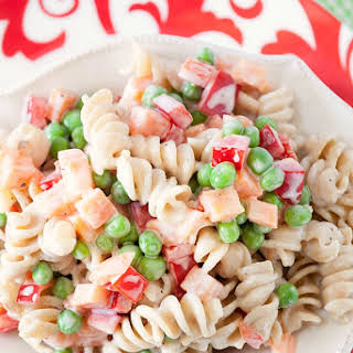 Healthy Caesar Ranch Pasta Salad.