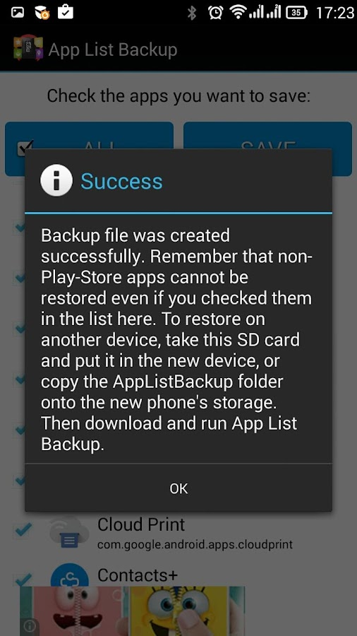 App List Backup- screenshot