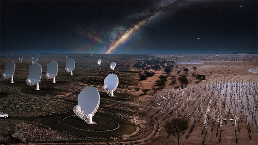 The two SKA sites in Australia and South Africa will look like this when the telescopes are complete. (Source: SKA Observatory)