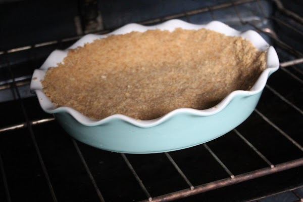 Crust baking in the oven.
