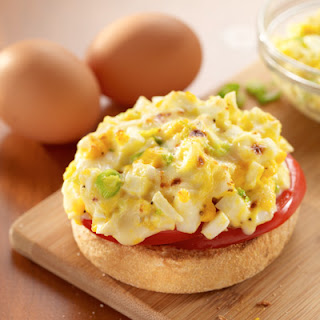 Broiled Egg Salad & Tomato English Muffins