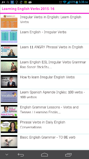 Learning English Verbs