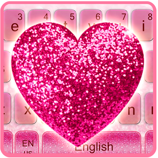 Sparkling Heart Pink Diamonds Keyboard