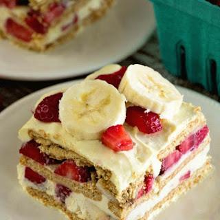 Skinny Strawberry Banana Ice Box Cake.
