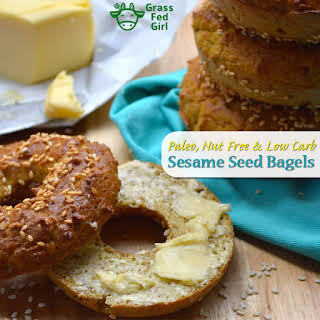 Low Carb Breakfast Bagels with Sesame Seeds (Paleo and Nut Free).