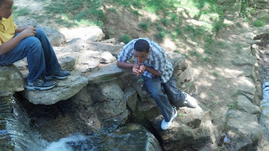 Photo: is he really going to drink from the waterfall?? :-)