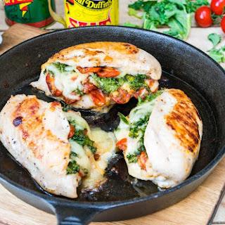 Sun-dried Tomato + Kale & Mozzarella Stuffed Chicken.