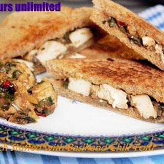 Tofu Stir Fried with Basil and Chili - Stuffed to make a Vegan Sandwich