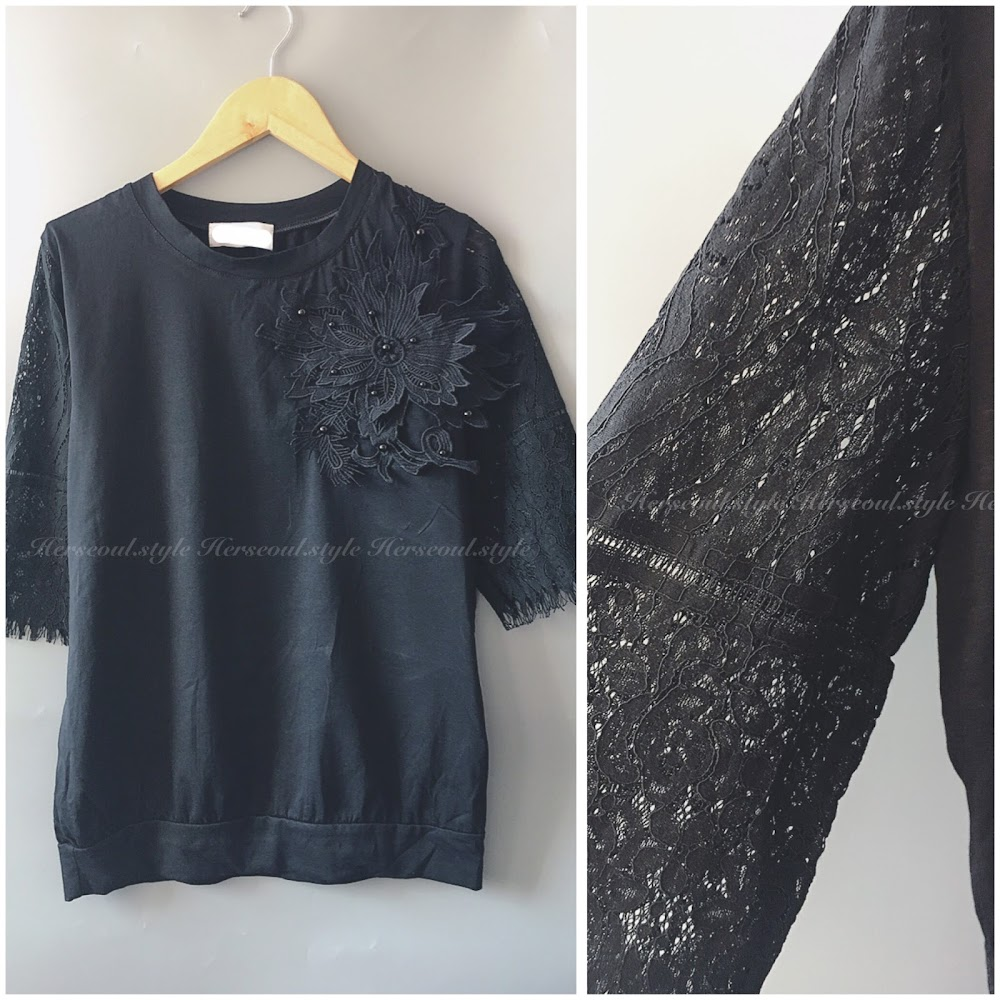 ♠️黑色大花lace袖top♠️