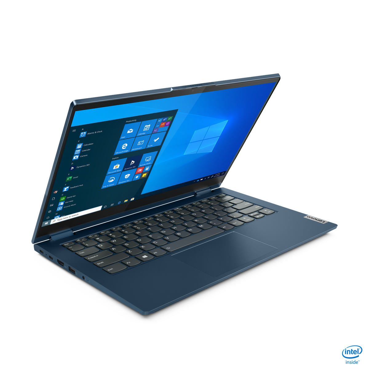 The ThinkPad 14s Yoga from the left front corner.