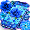 Royal blue diamonds and roses live wallpaper APK