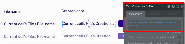 Using Bubble to display the creation date of a saved Dropbox folder