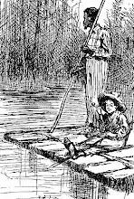 Huckleberry Finn und Jim auf dem Floß.