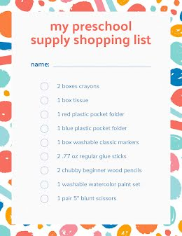 Preschool Shopping LIst - Flyer item