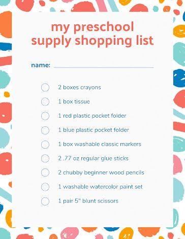Preschool Shopping LIst - Flyer template