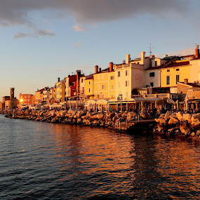 Piran late afternoon by Igor Martinšek - City,  Street & Park  Historic Districts ( slovenia, city, sunset, medieval, piran, sea )