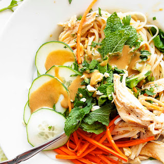 Cold Sesame Peanut Noodles with Brown Butter Chicken.