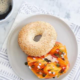 Loaded Vegetarian Carrot 'Lox' Bagels.