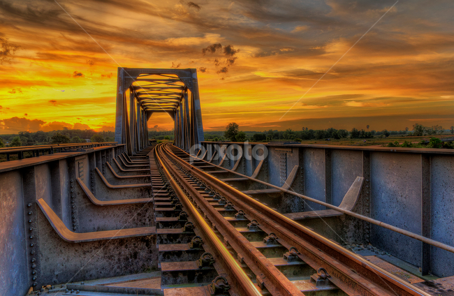 Sunset at the Bridge by Charliemagne Unggay - Buildings & Architecture Bridges & Suspended Structures ( orange, railway, sunset, architecture, bridge )
