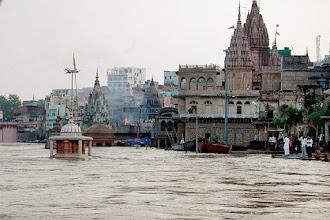 Photo: A view of submerged Duttatreya temple near Marnikarnika Ghat in Varanasi . (PTI)