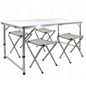 Masa plianta metal + MDF, camping + 2 scaune pliabile