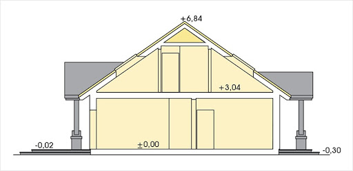 Anita wersja B z podwójnym garażem - Przekrój