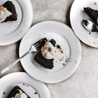 Flourless Chocolate Olive Oil Cake with Citrus Coffee Cream.