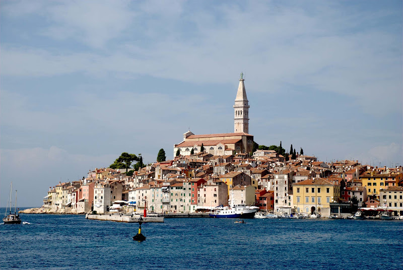 The seacoast of Rovinj, a Croatian fishing port on the west coast of the Istrian peninsula.