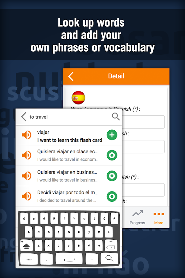 Learn Spanish with MosaLingua- screenshot