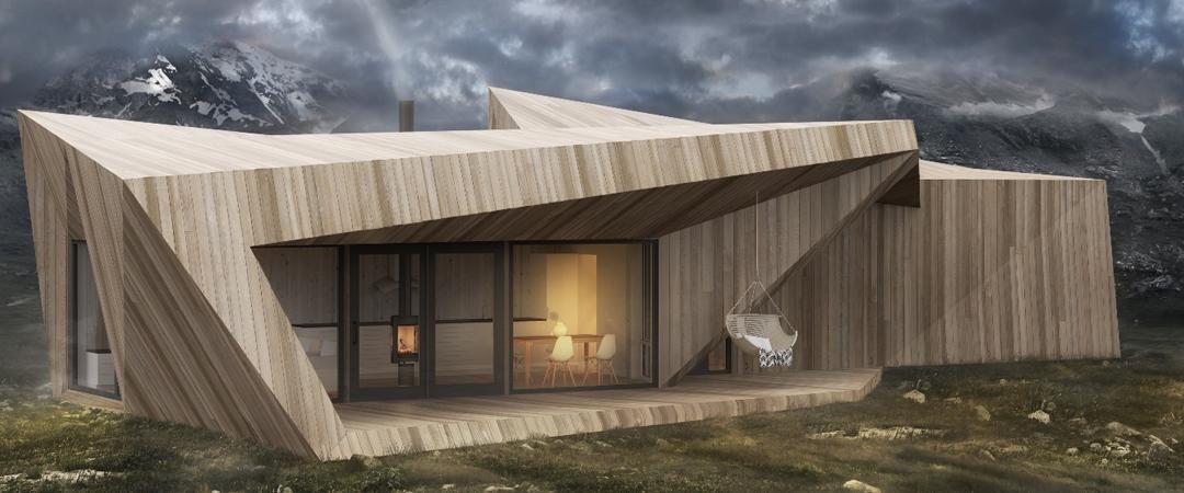 Moderne hytte av massivt tre og vinduer omringet av fjell, sno hytte, bygg hytte med våre byggmestere