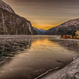 Ice on the Fjord by Knut Saglien - Landscapes Sunsets & Sunrises ( west norway, norway, winter, ice, cold, fjords )