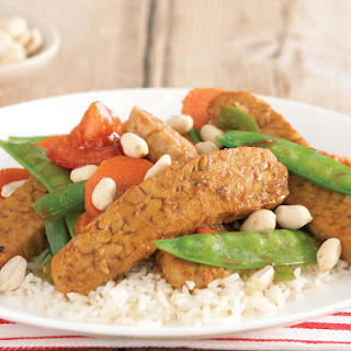 Tempeh Stir-Fry with Mixed Vegetables and Peanuts.