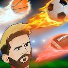 sport di testa: calcio di testa, basket, rugby icon