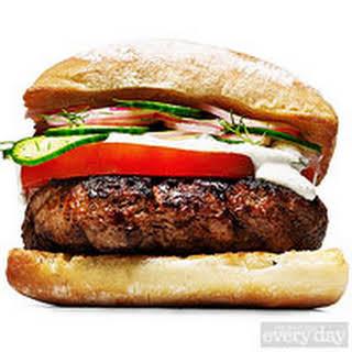 Josh Capon's Go Greek Lamb Burger.