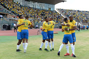 General view of Mamelodi Sundowns players celebrates during the CAF Champions League match between Mamelodi Sundowns and Al Ahly at Lucas Moripe Stadium on April 06, 2019 in Pretoria, South Africa.