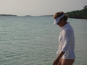 Photo: Anne with C'est la Vie anchored in the distance - Devils Cay