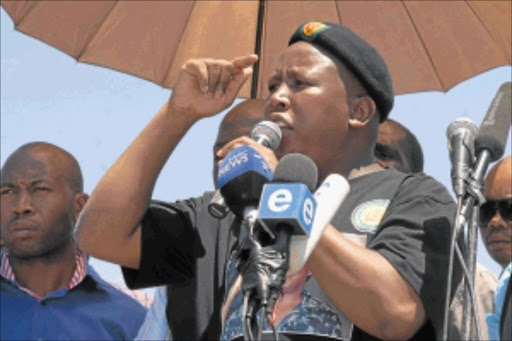 SOLIDARITY: Suspended ANC Youth League leader Julius Malema addresses striking  Impala Platinum miners.