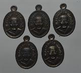 5 เหรียญ เหรียญเม็ดแตง หลวงพ่อทวด หลวงพ่อทอง วัดสำเภาเชย ปัตตานี รุ่น ทองฉลองเจดีย์ เนื้อทองแดงรมดำ ปี 2552