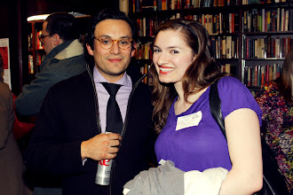Photo: Author Simon Van Booy and friend  I Like Your Glasses event at Housing Works bookstore  photo by Amy Sly