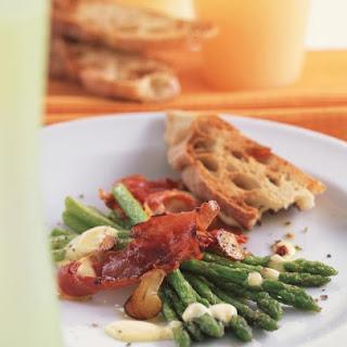 Asparagus with Crisp Prosciutto and Citrus Hollandaise.