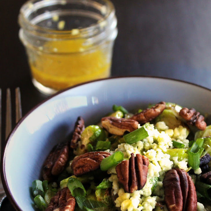Warm Brussels Sprout Salad with Apple Cider Ginger Dressing Recipe