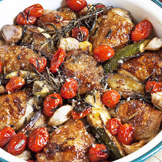Pan Roasted Chicken with Maple Syrup and Tomatoes.