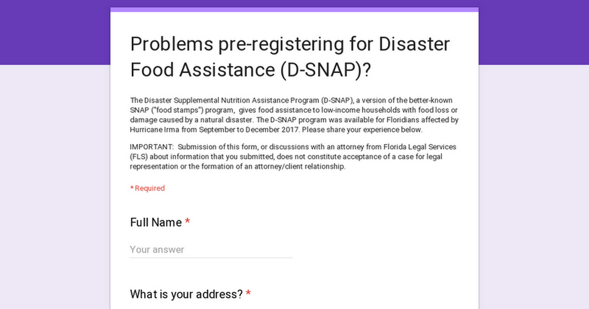Problems Pre Registering For Disaster Food Assistance D Snap