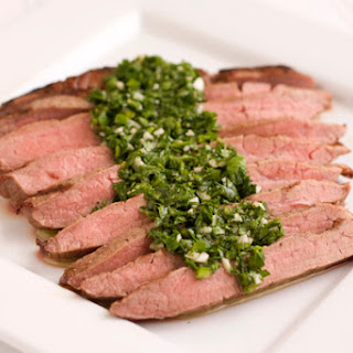 Grilled Flank Steak with Spicy Parsley Sauce.