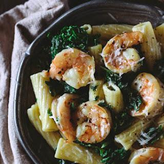 Roasted Shrimp and Kale Rigatoni with Lemon-Ricotta Sauce.