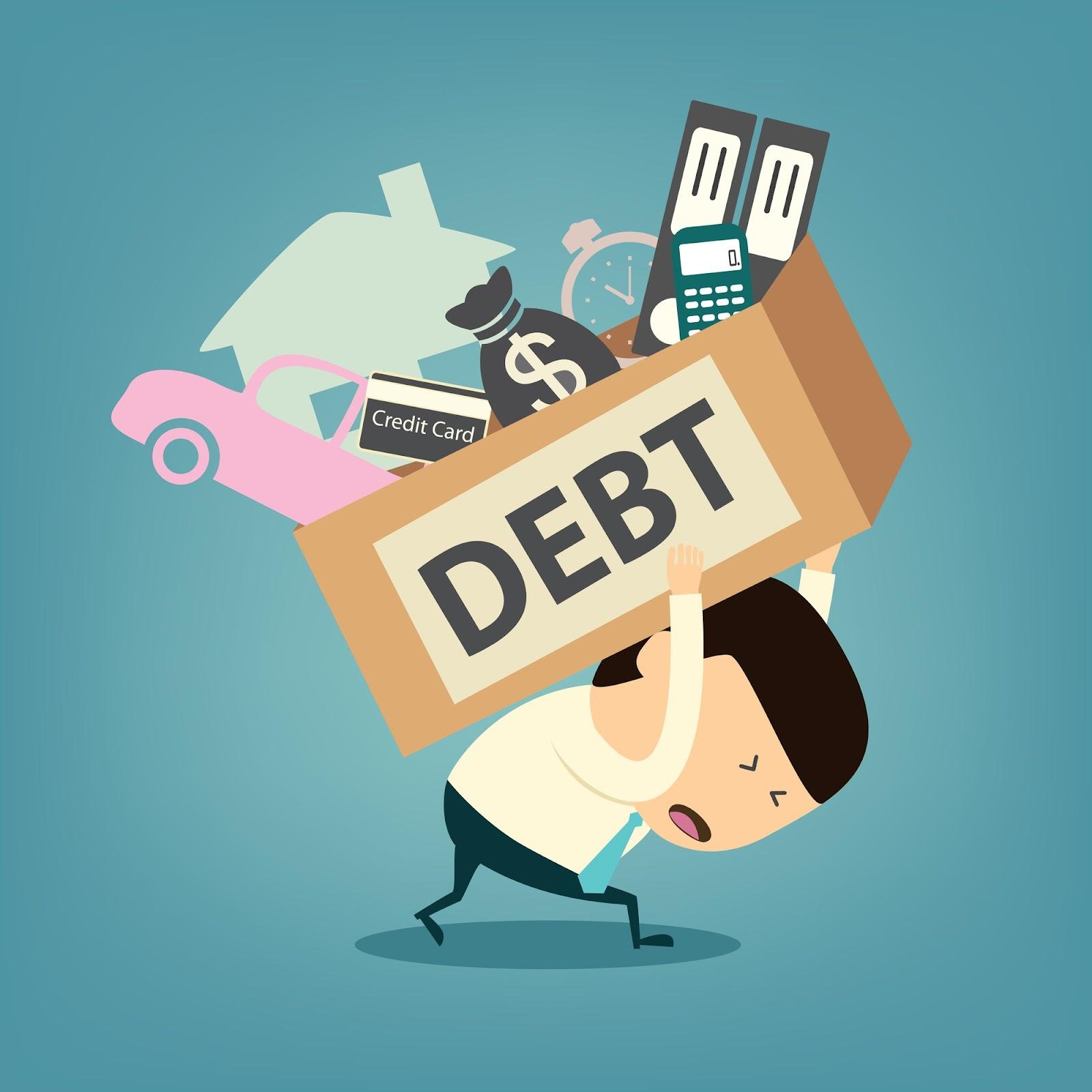 Cartoon businessman carrying debt box on his back
