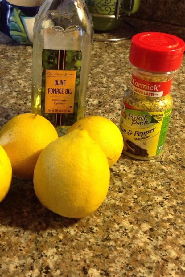 Marinate in refrigerator for 1 hr. In the juices of lemon along with lemon...