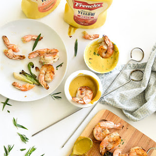 Grilled Shrimp with Sweet or Spicy Mustard Dipping Sauce