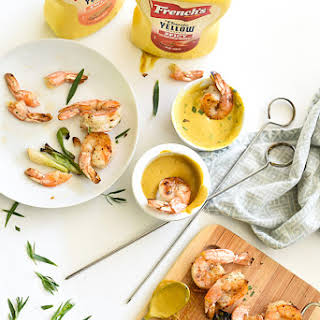 Grilled Shrimp with Sweet or Spicy Mustard Dipping Sauce.